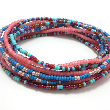 Seed bead wrap stretch bracelets, stacking, beaded, boho anklet, bohemian, stretchy stackable multi strand, pink blue teal red