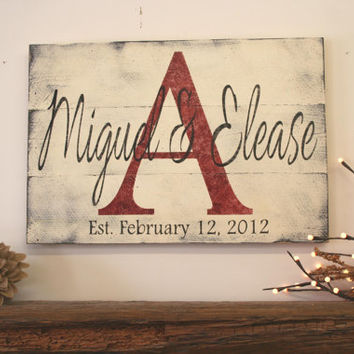 Name Sign Personalized Name Sign Family Name Sign Initial Sign Pallet Sign Shabby Chic Decor Wedding Bridal Shower Gift Housewarming Gift