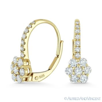 0.74ct Round Cut Diamond Cluster 14k Yellow Gold Leverback Flower Charm Earrings