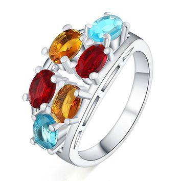 Beautiful Silver colors nice ring crystal stone cute noble pretty fashion Wedding silver Plated women Lady Ring jewelry LR068