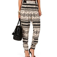 Ivory/Black Tribal Print Harem Pants