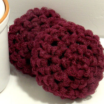 Crochet Dish Scrubbers - Burgundy Scouring Pads - Set of 2