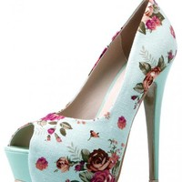 Peep Toe Printed High Heel Stiletto Pumps$68