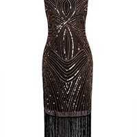 Vijiv Long Prom 1920s Vintage Fringe Sequin Art Nouveau Deco Flapper Dress