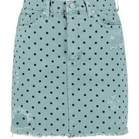 Denim Polka Dot Mini Skirt | Boohoo