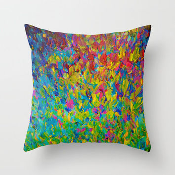 RAINBOW FIELDS - Colorful Abstract Acrylic Painting Ocean Waves Blue Teal Magenta Nature Fine Art Throw Pillow by EbiEmporium | Society6