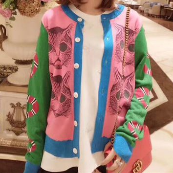 Gucci Stretch Long Sleeve  Pattern Multicolor Cute Women  Round Neck Knit Cardigan
