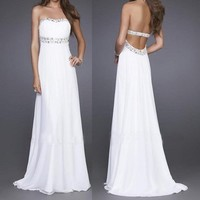 Elegant White Strapless Party Prom Evening Gown Long Dress