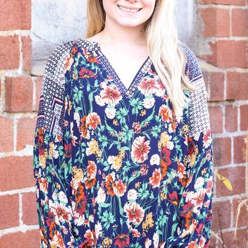 {Navy Mix} Fallen Florals Blouse
