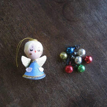 Pretty Little Mod Angel; Feather Tree Topper + 7 Mini Glass Ball Ornaments & Small Vintage Bead Garland; U.S. Shipping Included