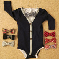 Baby Boy Navy Blue with Gray Cardigan Outfit and your choice of 1 removable Bow Tie