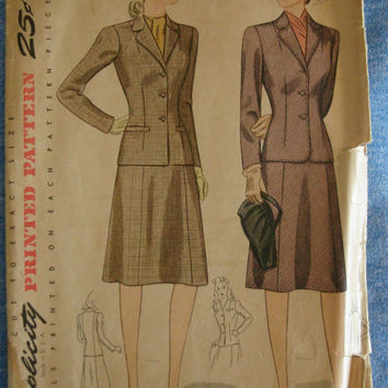 1940s Womens Two Piece Suit Sewing Pattern Simplicity 4416 Bust 38 Hip 41 Sz 38
