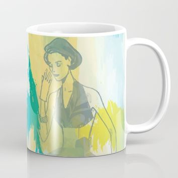Woman in blue- abstract digital art Mug by SagaciousDesign