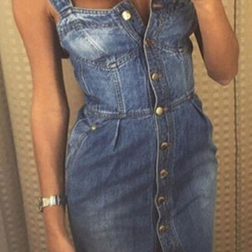 TAOVK 2016 new fashion Russia style  Summer Women Jeans Dress