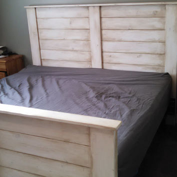 Rustic White Headboard and Footboard