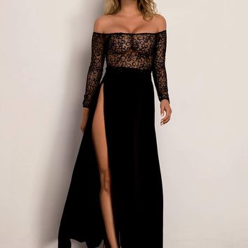 Split Thigh Sheer Sequin Mesh Bardot Dress