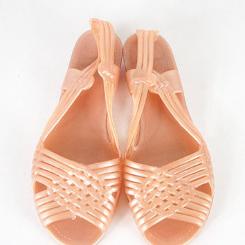 Vintage 80s Jelly Shoes   Jelly Flats Jellies Pink Shoes Peach Shoes Retro Mod Boho Chic Avant Garde New Wave Jelly Sandals Cut Out Shoes