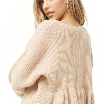 Ruffled Self-Tie Back Sweater