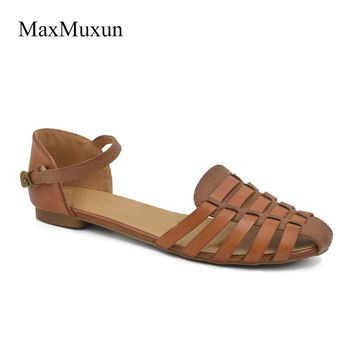 MaxMuxun Ladies Slingback Flat Sandals Women 2017 Summer Ankle Strap Closed Toe Sweet Gladiator Beach Sandals For Girls Shoes