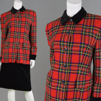 Vintage 80s Tartan Jacket Plaid Coat Black Velvet Collar Betty Barclay Punk Coat Grunge Jacket Shoulder Pads Checked Pattern Fitted Blazer
