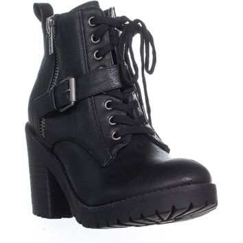 Rampage Haydee Lace Up Combat Boots, Black, 8 US