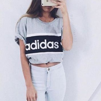 Adidas Women Fashion Print Short Sleeve Cami Crop Shirt Top Tee