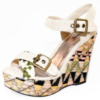 Qupid Beautiful Contrast Straw Platform Wedge Sandals Quclemence-22 Beige or Brown