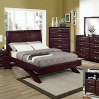 5 pc. vera cherry brown wood finish queen platform bedroom suite with curved base legs
