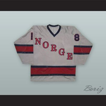 1980 Knut Fjeldsgaard 18 Norway National Team Gray Hockey Jersey