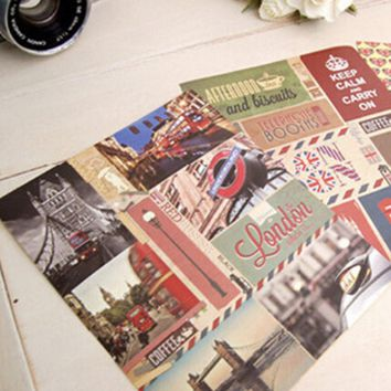 3 sheets/lot (1 bag) Vintage Retro Bonjour Paris London Sticky Paper Travel Sticker for Scrapbooking Decor Free shipping 917