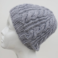 Hand knit cable hat, hand knit wool blend gray hat.