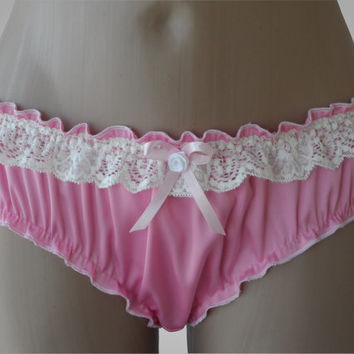 Pink Silk Ruffled Panties - Handmade