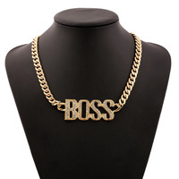 Exaggerated Hip Hop Style Letters BOSS Choker Pendant & Necklace