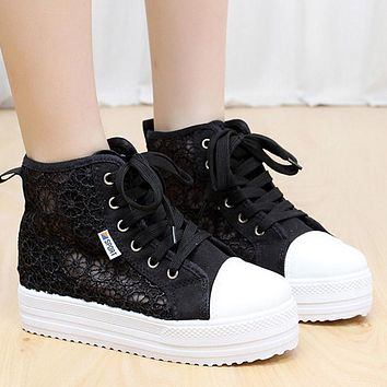 Women Shoes Canvas Breathable Lace Fretwork Shoes Casual Hollow Muffin Bottom Floral Flat Platform Shoes TR868707