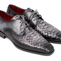 Paul Parkman Men's Gray and Black Genuine Python & Calfskin Derby Shoes (ID#PT59GRY)