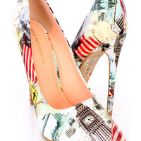 Multi Printed Single Sole Pump Heels Faux Leather