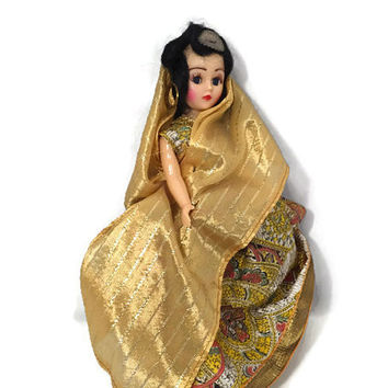 Vintage Indian Doll - 1950s 1960s Collectible Toy, Sleepy Eyes, Movable Arms and Head, Molded Hard Plastic, Mid Century Toy