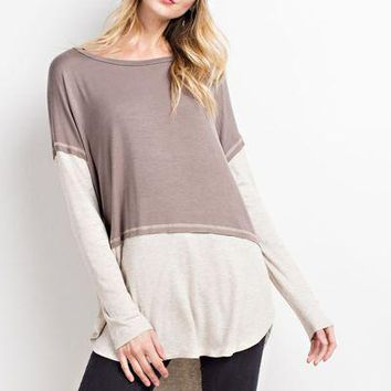 Easel hi low color block long sleeve tunic top