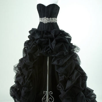 Gorgeous Black with high low prom dress