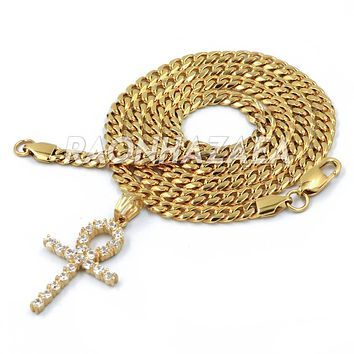 Hip Hop Iced Out Stainless Steel Egyptian Ankh Pendant W Cuban Chain