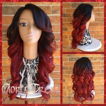 ON SALE // Celebrity Inspired Lace Front Wig,  Long Curly Wig, 100% Human Blend,  Red Ombre Wig, Bombshell Wig /ATTRACTIVE (Free Shipping)
