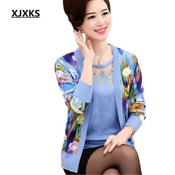 XJXKS 2017 autumn new women cardigan high-end fabrics printing Loose long-sleeved cardigan piece set women's cashmere sweaters