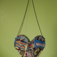 Marvel Avengers superhero comic book heart purse - One of a kind - Ready to ship bag