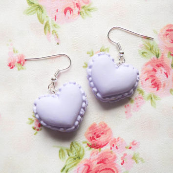 Macaroon Earrings, Heart Macaroon Earrings, Macaron Earrings, Heart Macaron Earrings, Sweet Lolita Earrings, Pastel, Purple, Macaroons