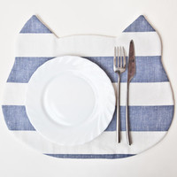 Placemat Cat, strips, Blue, Fabric placemat