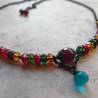 Colourful oriental boho short necklace / multicolor natural quartz, garnet, oxidized brass