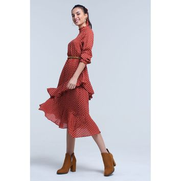 Red High Neck Long Sleeve Polka Dot Midi Dress