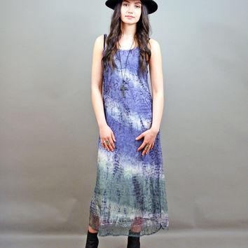 Vintage 90's MeSH TiE DyE Grunge Hippie Summer SHEER layer GYPSY Bohemian Festival Sundress Long MAXI Slip Dress