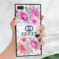 GUCCI Fashion Ladies Chic Pink Roses Flower Blu-Ray Glass iPhone Phone Cover Case For iPhone X phone Shell 6s iPhone 8plus I12070-18