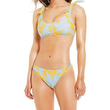 GB Mahalo Muse Tie Shoulder Bralette Bikini Top & Strap Side Classic Swimsuit Bottom | Dillard's